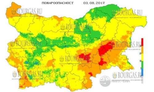 Риск возникновения пожаров в Болгарии остается достаточно высоким
