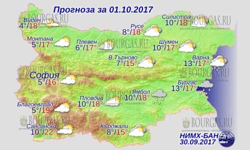 1 октября 2017 года, погода в Болгарии