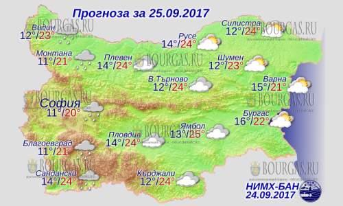 25 сентября 2017 года, погода в Болгарии