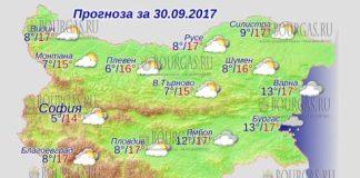 30 сентября 2017 года, погода в Болгарии