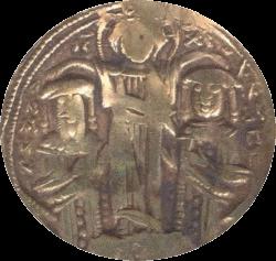 золотая монета найденная при раскопках крепости Русокастро, лицевая сторона