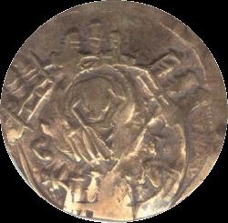 золотая монета найденная при раскопках крепости Русокастро, оборотная сторона