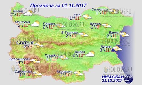 1 ноября 2017 года, погода в Болгарии