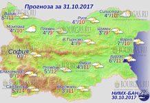 31 октября 2017 года, погода в Болгарии