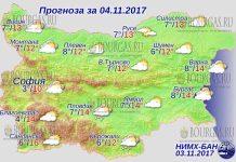 4 ноября 2017 года, погода в Болгарии