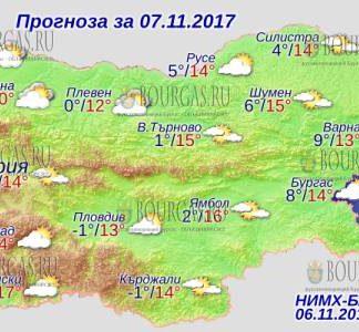 7 ноября 2017 года, погода в Болгарии
