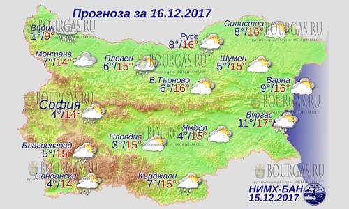 16 декабря 2017 года, погода в Болгарии