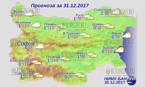31 декабря 2017 года, погода в Болгарии