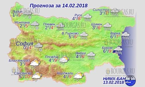 14 февраля 2018 года, погода в Болгарии