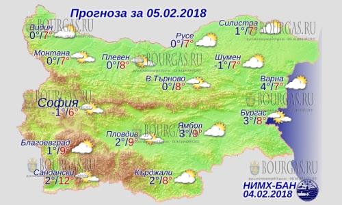 5 февраля 2018 года, погода в Болгарии