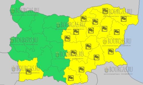 1 апреля 2018 года - ветренный Желтый код в Болгарии