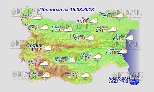 15 марта 2018 года, погода в Болгарии