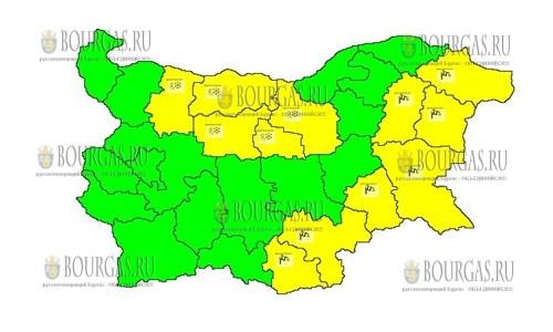 26 марта 2018 года - ветреный Желтый код в Болгарии