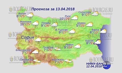 13 апреля 2018 года, погода в Болгарии