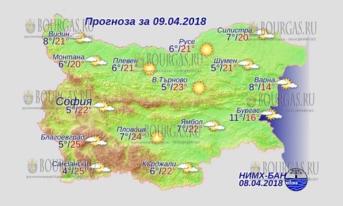 9 апреля 2018 года, погода в Болгарии