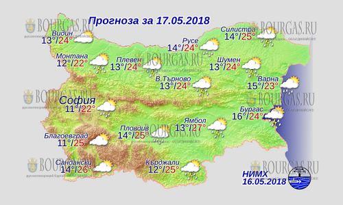 17 мая 2018 года, погода в Болгарии