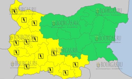 7 мая 2018 года - дождливый и грозовой Желтый код в Болгарии