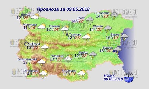 9 мая 2018 года, погода в Болгарии