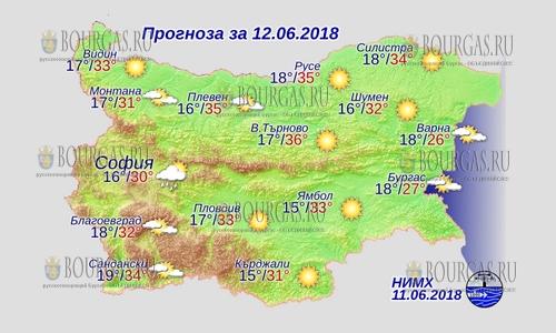 12 июня 2018 года, погода в Болгарии