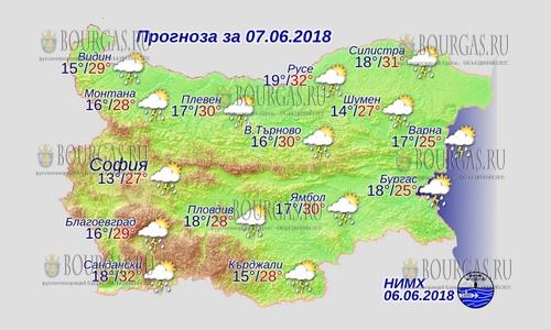 7 июня 2018 года, погода в Болгарии
