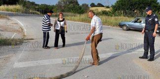 питон на дороге в Болгарии