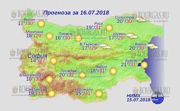 16 июля 2018 года, погода в Болгарии