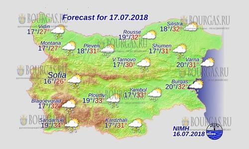 17 июля 2018 года, погода в Болгарии