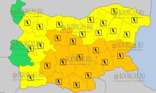 24 июля 2018 года в Болгарии - дождевой и грозовой Оранжевый и Желтый коды опасности