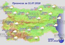 31 июля 2018 года, погода в Болгарии