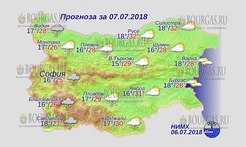 7 июля 2018 года, погода в Болгарии