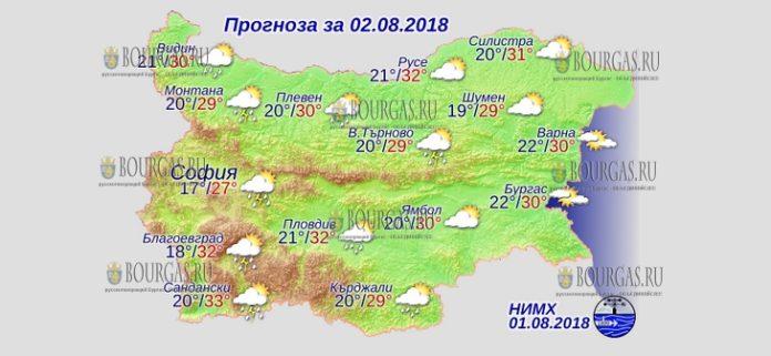 2 августа 2018 года, погода в Болгарии
