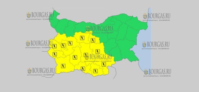 27 августа 2018 года, погода в Болгарии Желтый код опасности