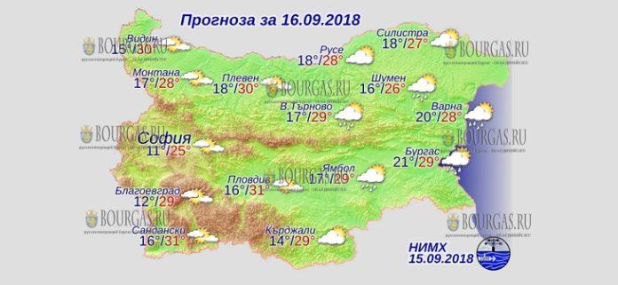 16 сентября 2018 года, погода в Болгарии