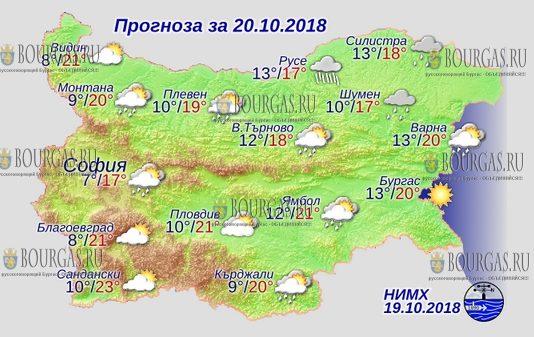 20 октября 2018 года, погода в Болгарии