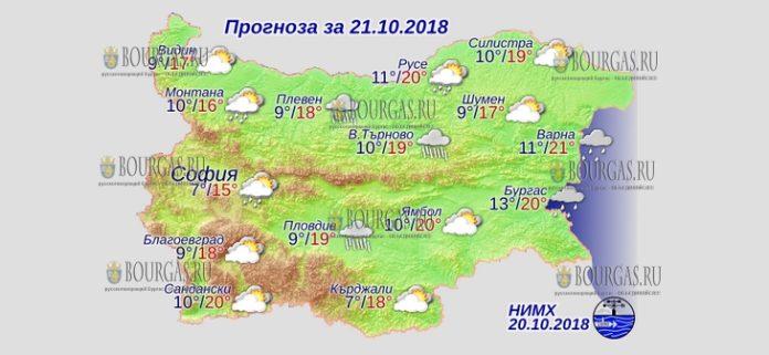 21 октября 2018 года, погода в Болгарии