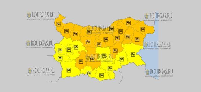 24 октября 2018 года, погода в Болгарии ветреный Оранжевый и Желтый коды опасности