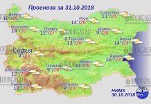 31 октября 2018 года, погода в Болгарии