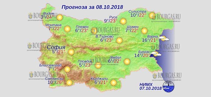 8 октября 2018 года, погода в Болгарии