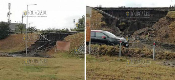 из-за сильных ливней оказалось повреждена автотрасса в районе аэропорта Сарафово