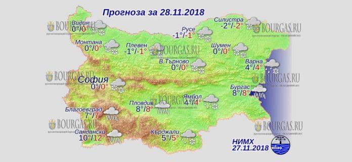 28 ноября 2018 года, погода в Болгарии