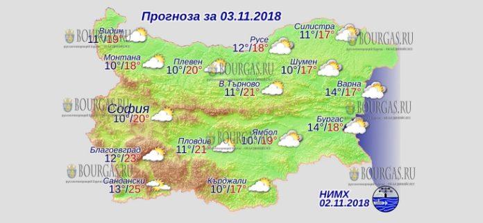 3 ноября 2018 года, погода в Болгарии
