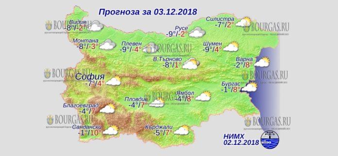 3 декабря 2018 года, погода в Болгарии