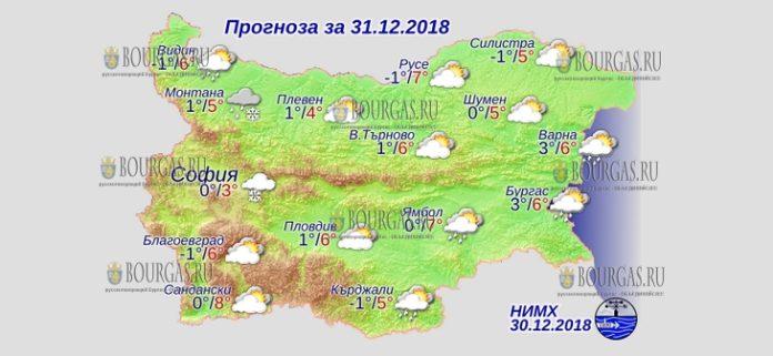 31 декабря 2018 года, погода в Болгарии