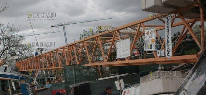На строительстве Арена Бургас упала стрела башенного крана