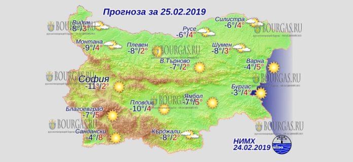 25 февраля 2019 года, погода в Болгарии