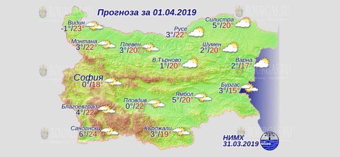 1 апреля 2019 года, погода в Болгарии