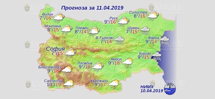 11 апреля 2019 года, погода в Болгарии