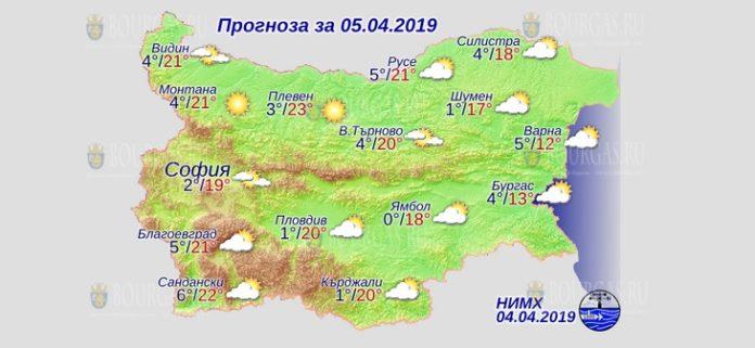 5 апреля 2019 года, погода в Болгарии