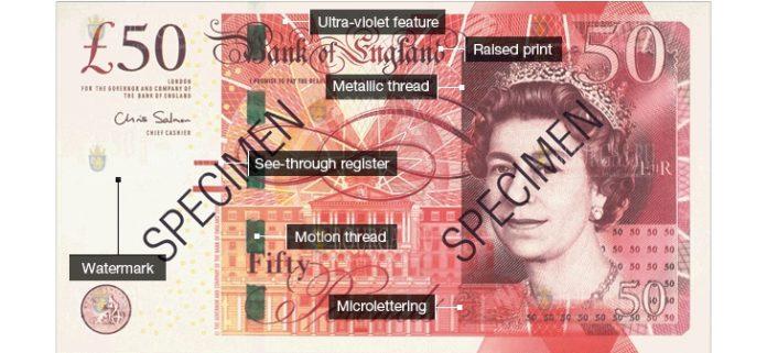 фальшивая банкнота в 50 фунтов стерлингов