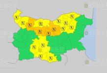 25 июня Оражевый и Желтый коды в Болгарии